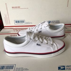 NEW Keds White Canvas Preppy Red Trim Sneakers